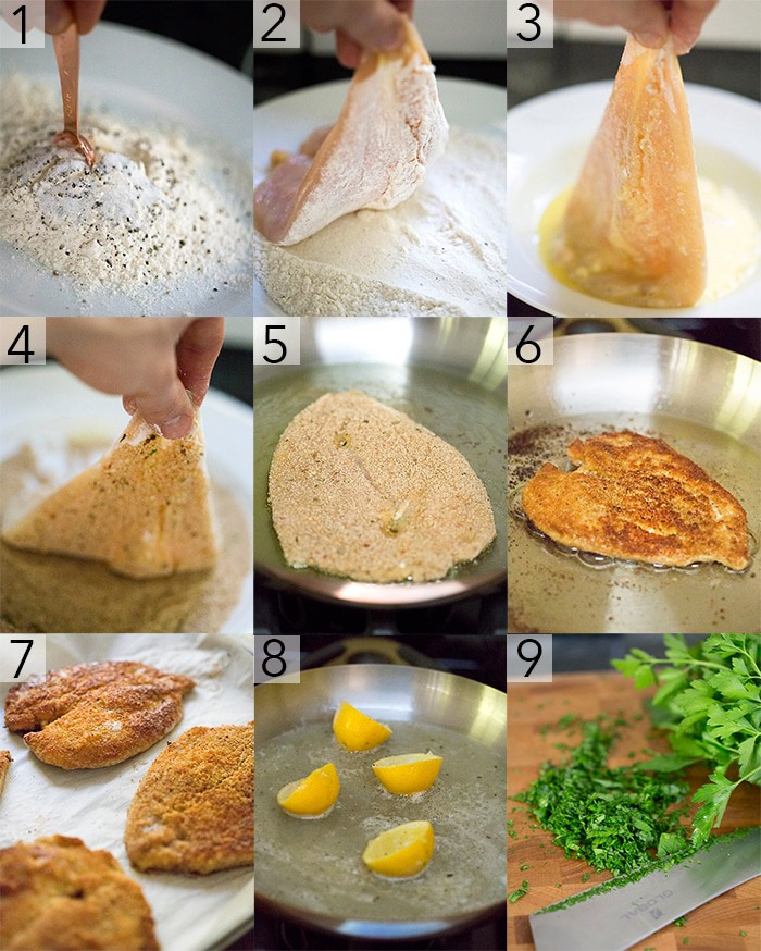 A photo grid showing the steps to make a classic chicken piccata