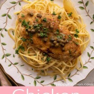 A pinterest graphic of chicken piccata