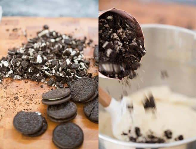 Two photos showing Oreo cookies being chopped and folding them into cake batter