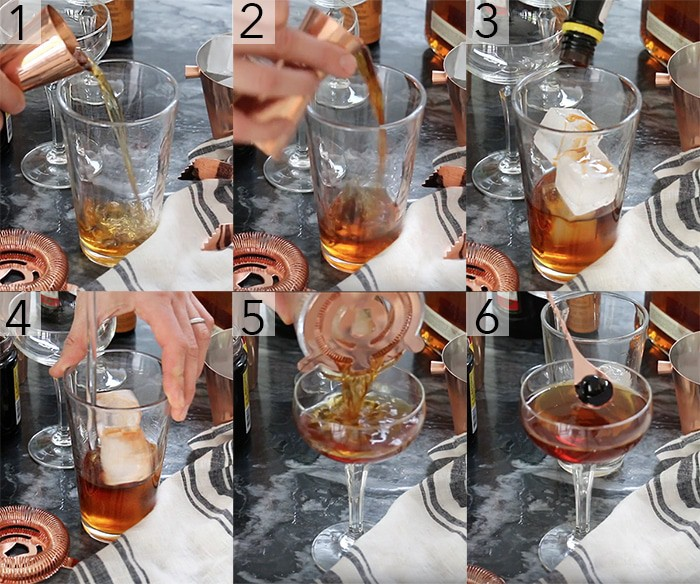A photo grid showing the steps to make a manhattan cocktail