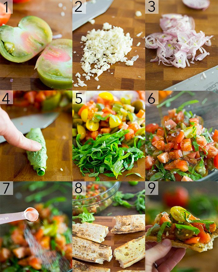 A photo grid showing the steps to make tomato bruschetta