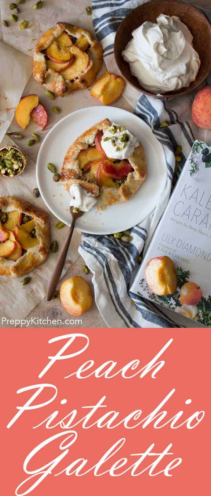 The most amazing peach and pistachio galettes with a dreamy rosewater cardamom cream. This incredible recipe is from the new cookbook by Kale & Caramel.