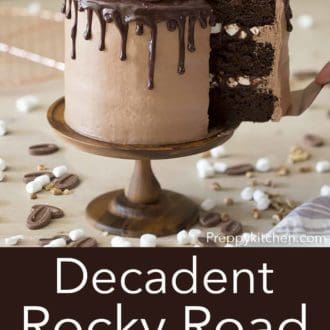 three layer rocky road cake on a wooden cake stand