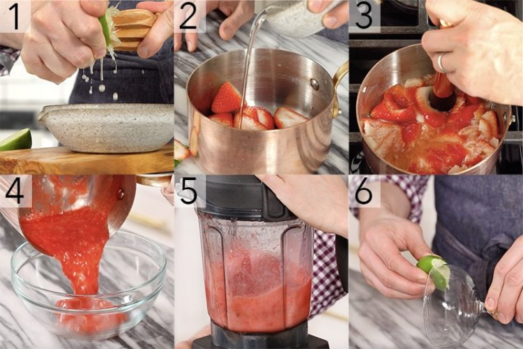 A photo showing steps on how to make a strawberry margarita.