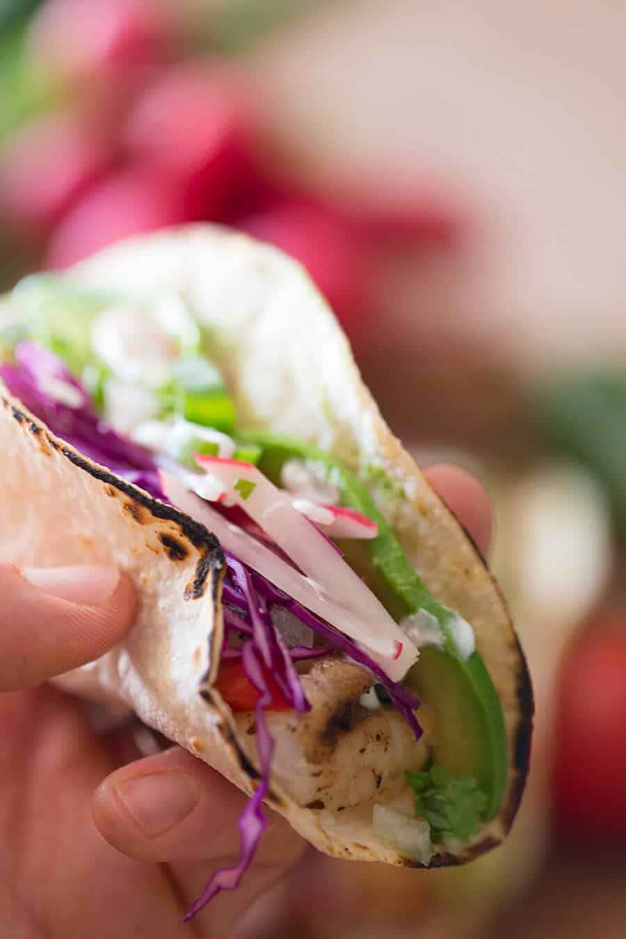 A photo of a fish taco with cabbage and sliced avocado.