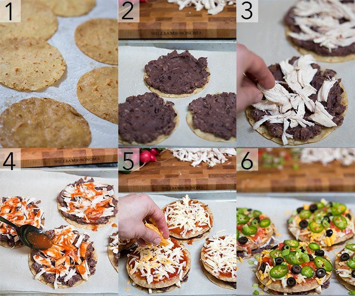 A photo grid showing the steps to make Mexican pizza