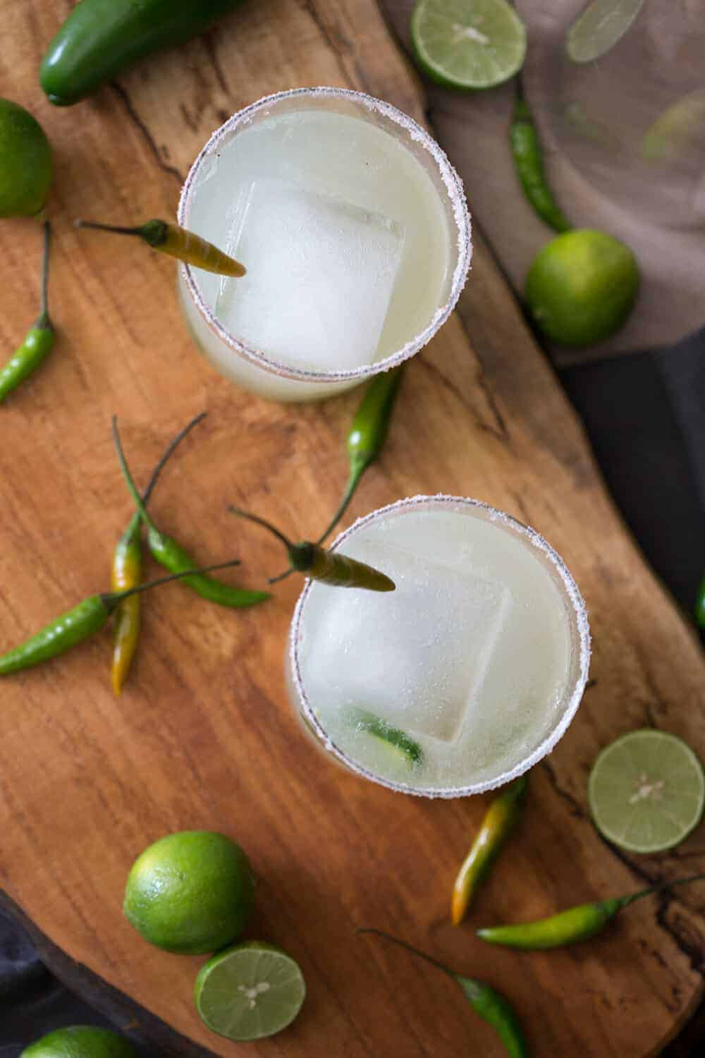 A photo of a couple spicy margaritas.