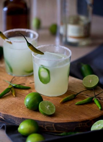 a photo of two Spicy Margaritas.