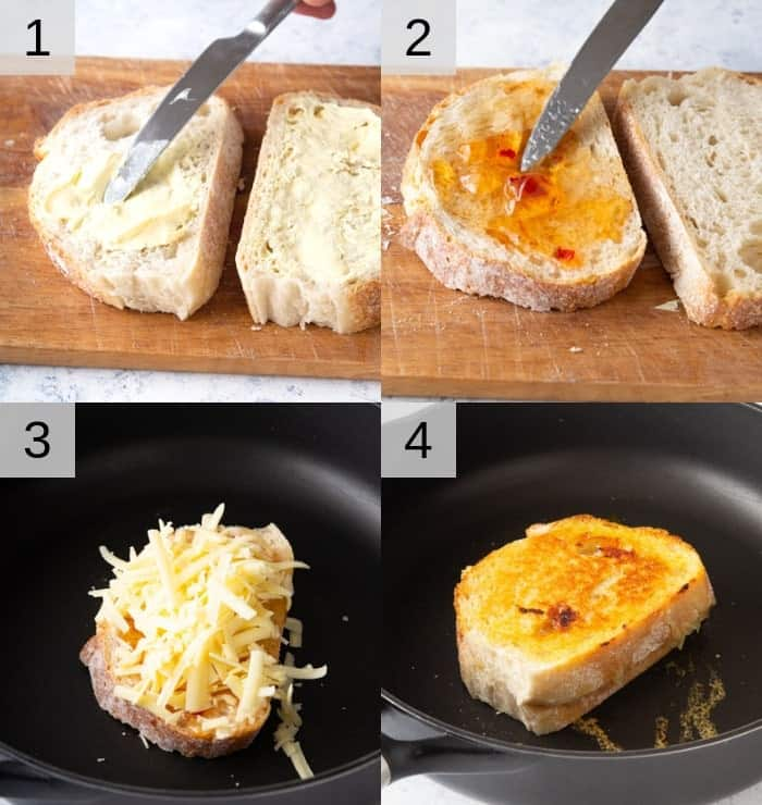 A photo showing steps on how to make this grilled cheese.