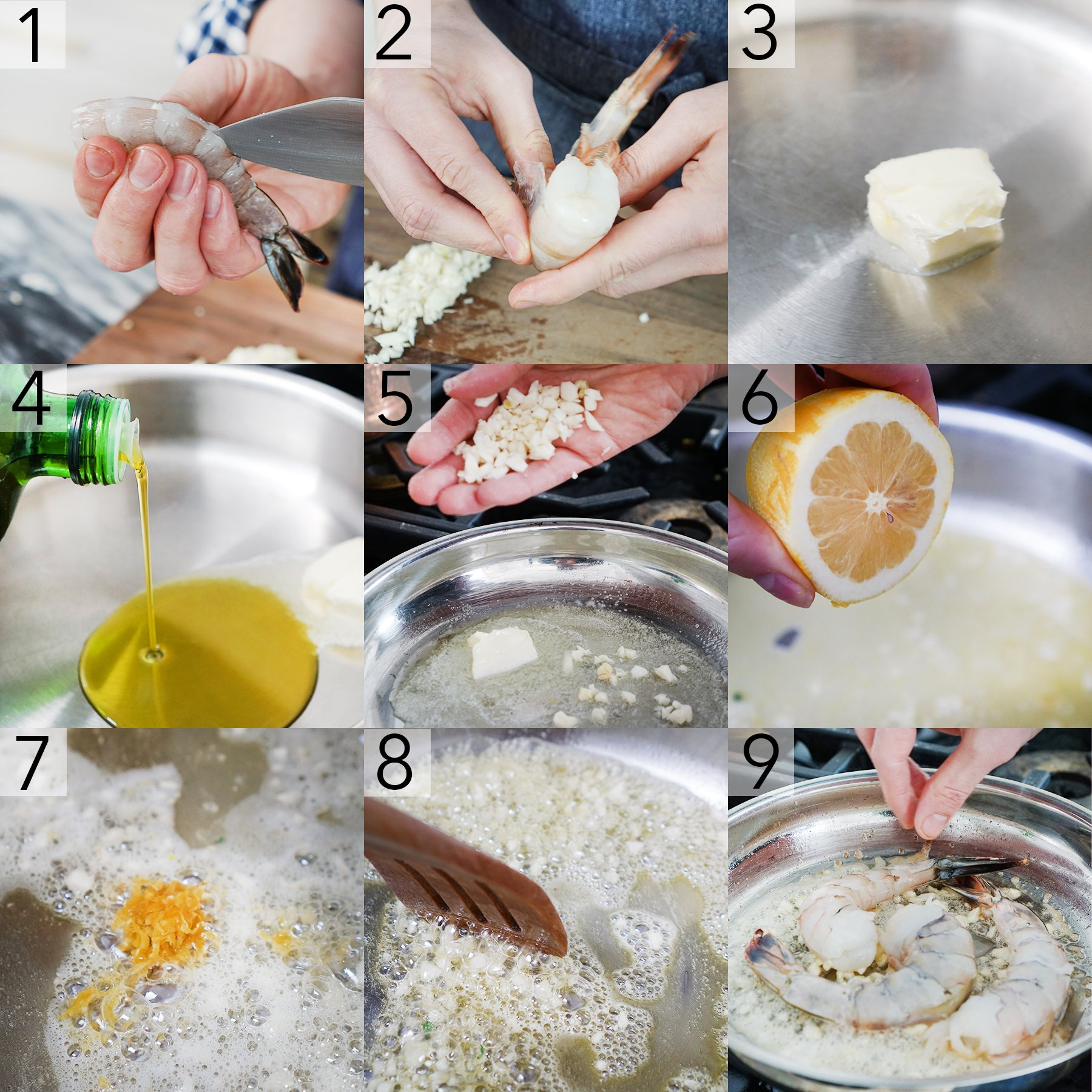 A photo collage showing the steps to make shrimp scampi