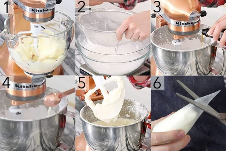 A photo showing steps on how to make vanilla buttercream frosting.