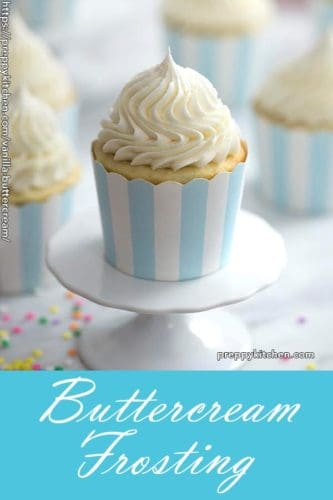A clipping showing a beautiful spiral of buttercream frosting piped on top of a cupcake.