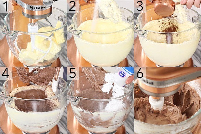 A photo griod showing the steps to make chocolate buttercream.