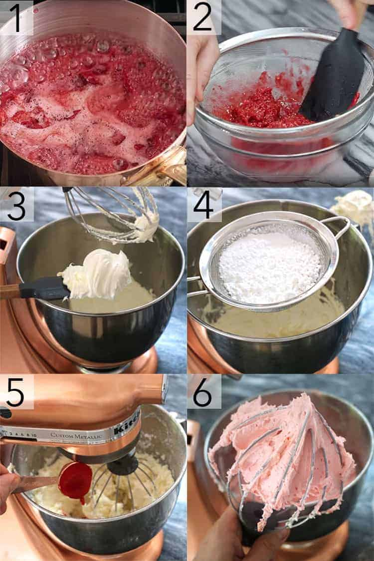 A photo collage showing the steps to make raspberry buttercream