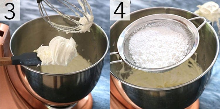 A photo collage showing the steps to make American buttercream