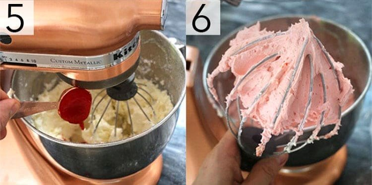 A photo collage showing the steps to make strawberry buttercream
