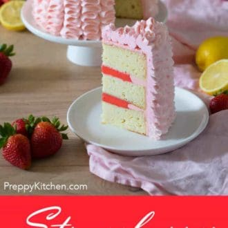 A clipping of a strawberry lemonade cake with a slice on a plate.