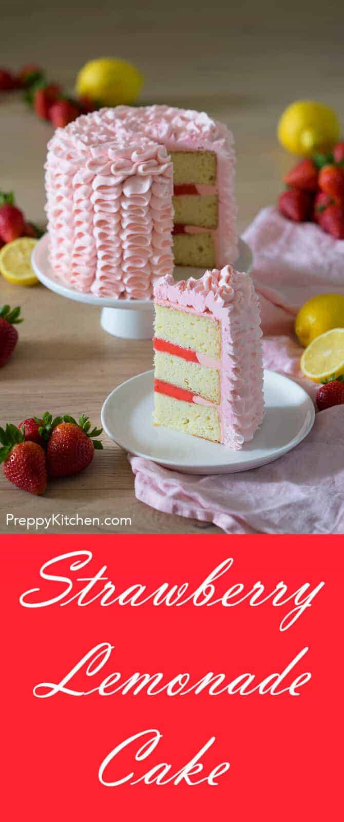 This moist lemon cake is filled with a delicious strawberry curd and covered in creamy Swiss meringue buttercream flavored with a strawberry reduction. It might be the perfect cake for a warm summer day!
