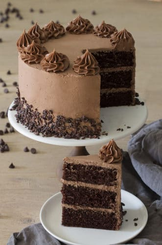 Photo of Chocolate Cake on a white cake stand with a cut piece in the foreground