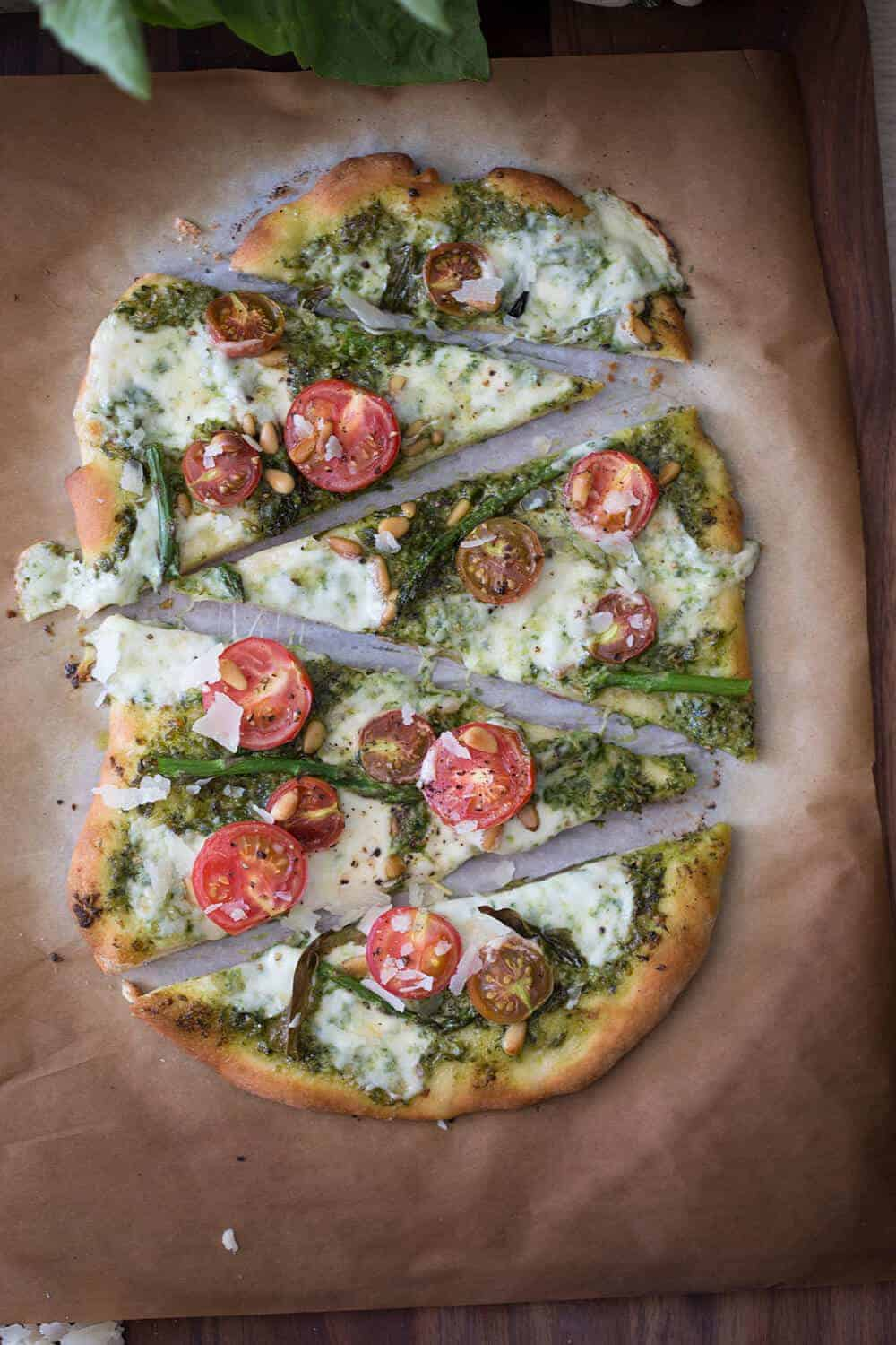 Pesto Heirloom Tomato Pizza