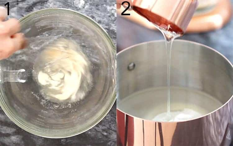 two photos showing gelatin getting whisked and corn syrup being poured