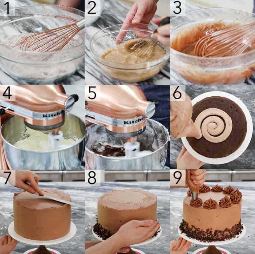 photo collage showing steps to make a chocolate cake