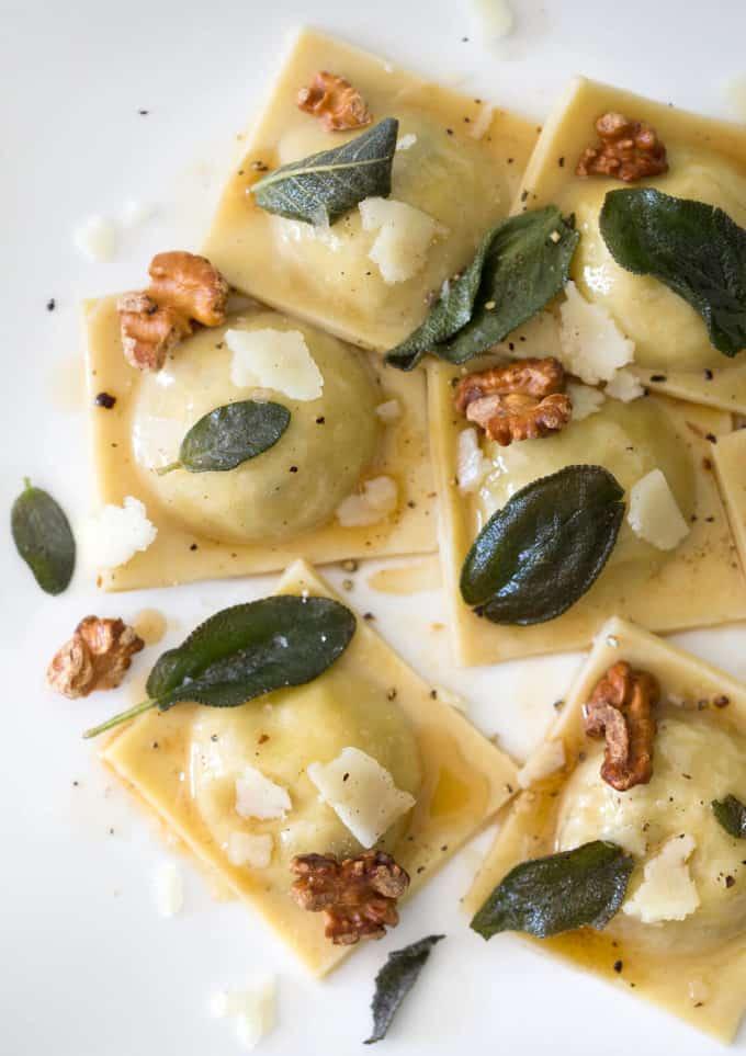 A photo of homemade Artichoke Dip ravioli.