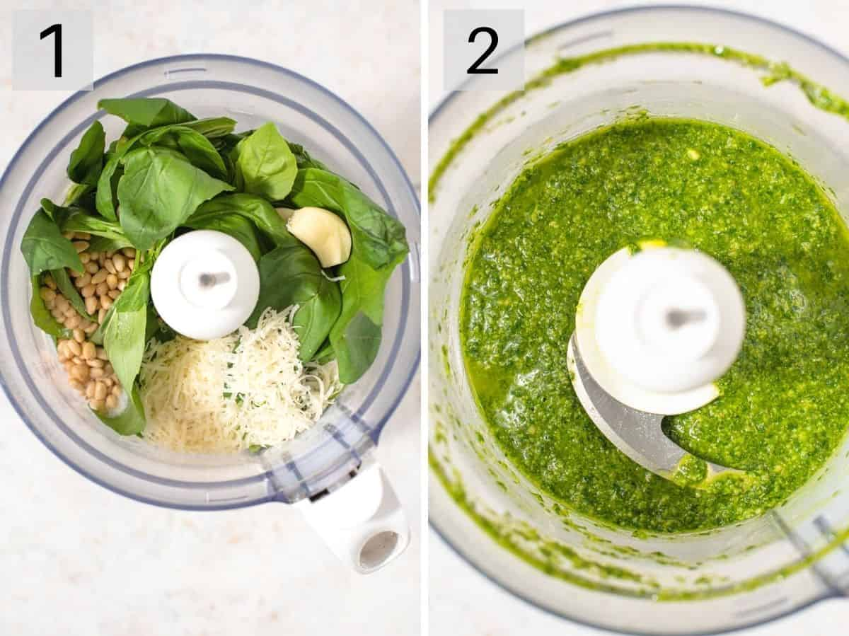 Two photos showing how to make basil pesto
