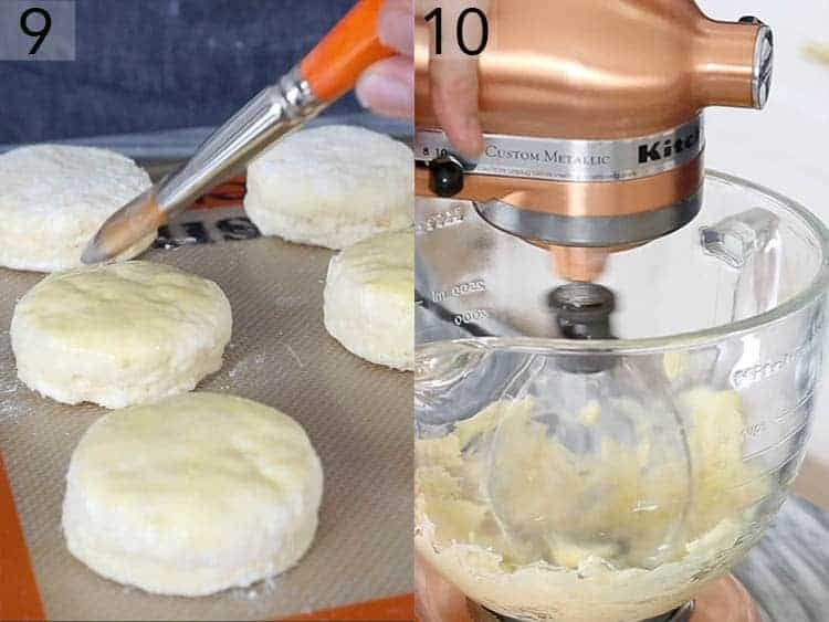 Buttermilk biscuits getting brushed with an egg wash