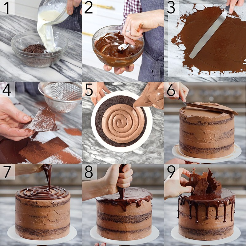 A photo showing steps on how to assemble a chocolate zucchini cake.