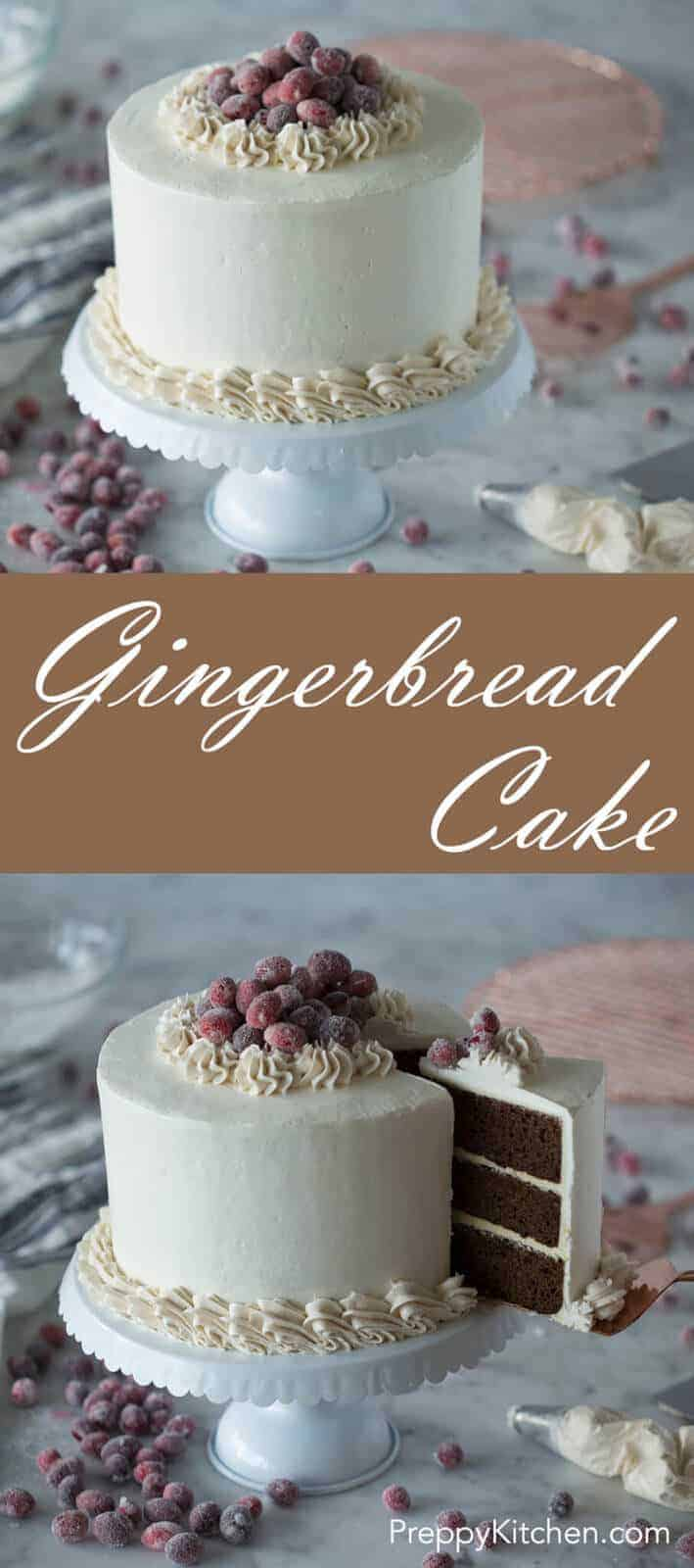 A rich and flavorful gingerbread cake paired with a zesty lemon buttercream and a spiced Italian buttercream all topped by a nest of sparkling cranberries.