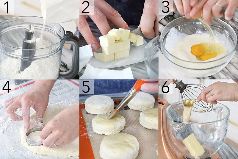 A photo showing steps on how to make honey butter biscuits.