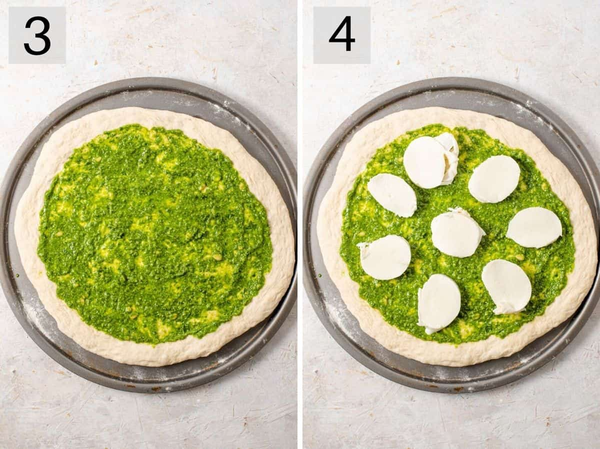 Two photos showing how to add pesto and mozzarella to a pizza