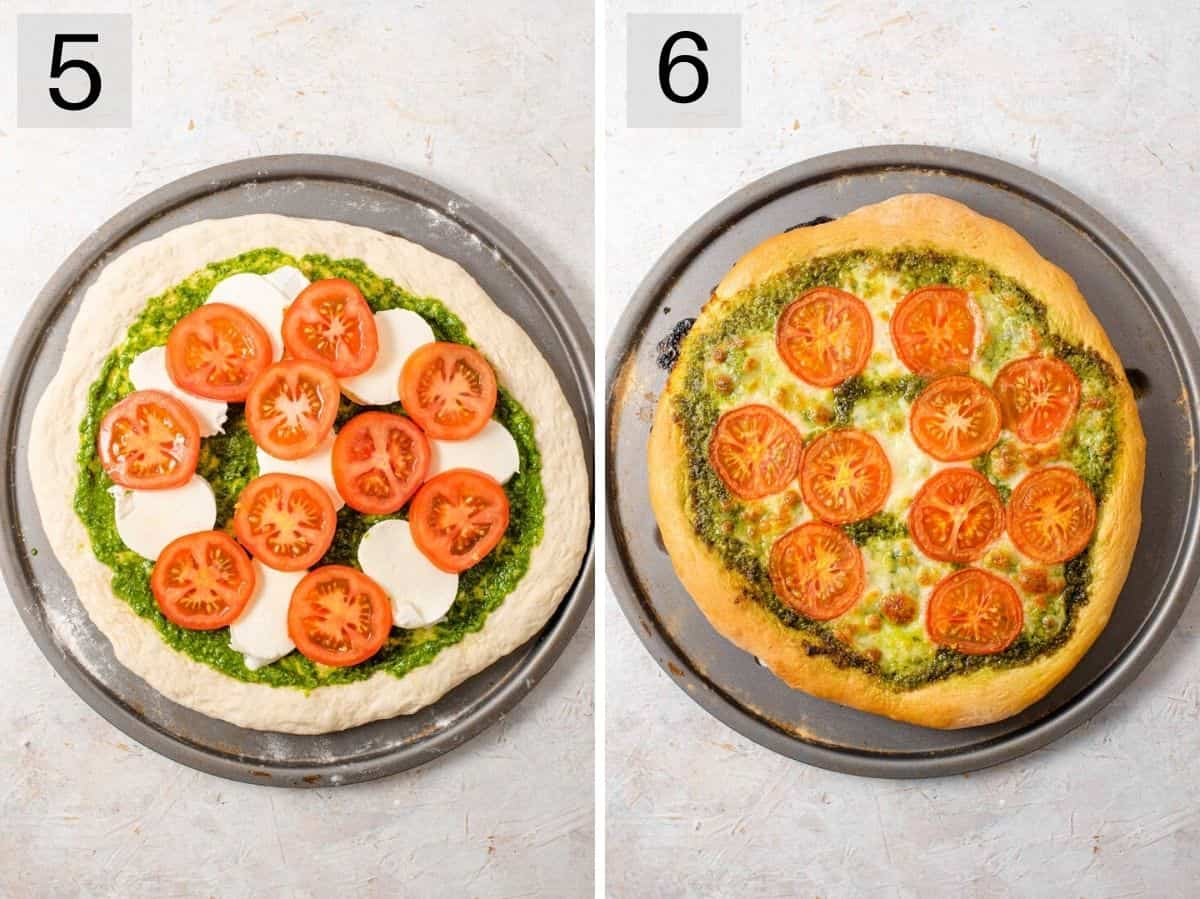 Two photos showing before and after a pesto pizza is baked