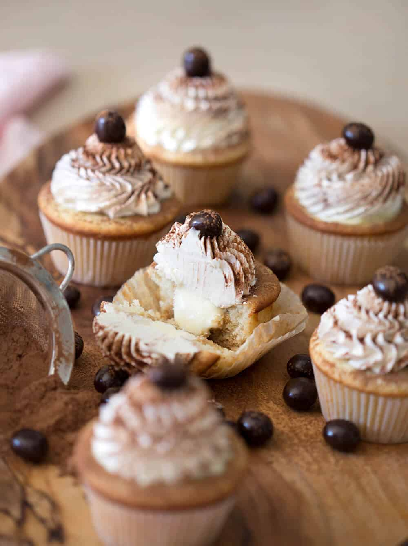 A photo showing the inside of a Tiramisu Cupcake.