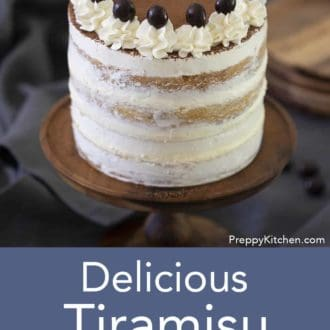 tiramisu layer cake on a stand