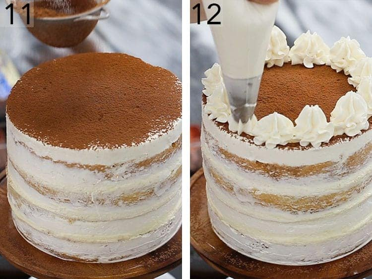 A tiramisu cake getting decorated with cocoa powder and dollops