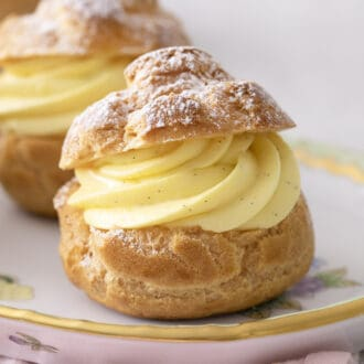 A cream puff filled with vanilla pastry cream.