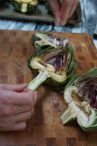 Lemony Roasted Artichokes
