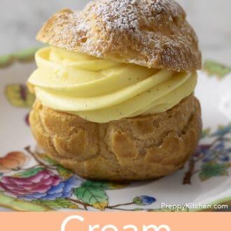 A cream puff on a plate.
