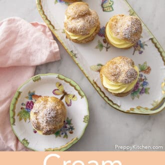 A top-dowm photo of cream puffs.