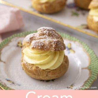 A cream puff with vanilla cream.