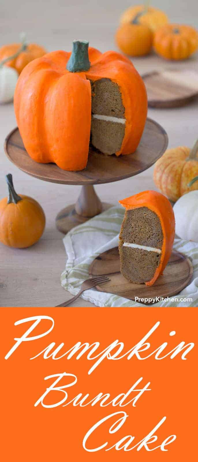 This show-stopping pumpkin bundt cake might look just like a real pumpkin but don't forget, it tastes amazing too!