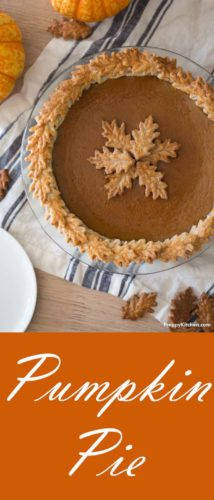 A clipping of a pumpkin pie decorated with pie crust leaves.