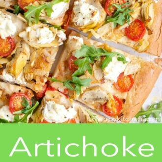 An overhead shot of artichoke pizza with tomatoes and goat cheese