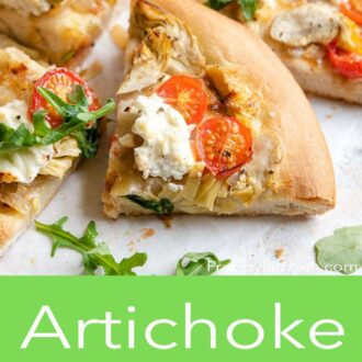 A pinterest graphic showing a slice of artichoke pizza