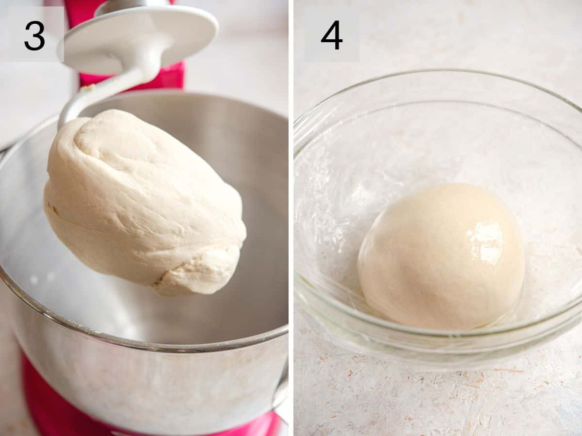 Two photos showing what dough looks like after kneading