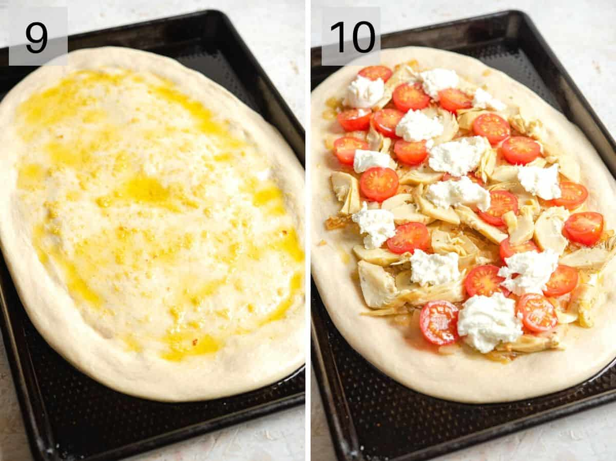 Two photos showing how to brush garlic oil on a pizza base and add more toppings