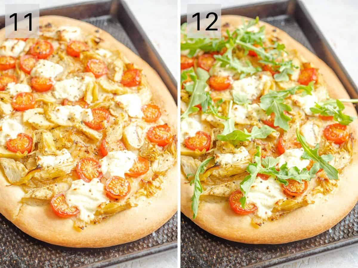Two photos showing artichoke pizza after baking