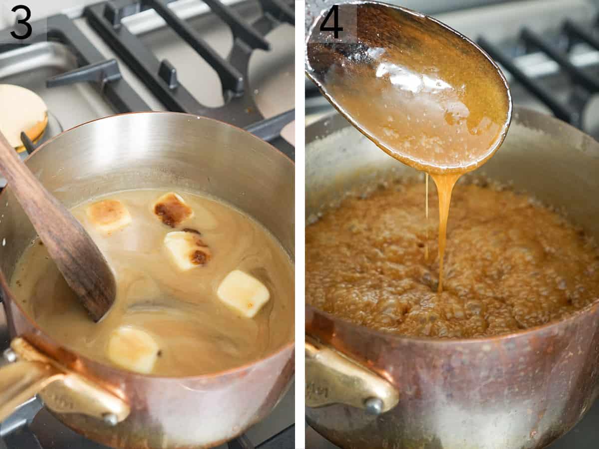 Caramel cooking in a copper pot.